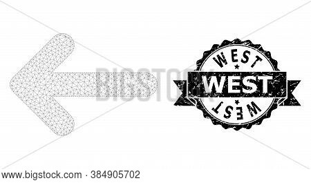 West Grunge Seal Print And Vector Left Arrow Mesh Model. Black Stamp Seal Has West Tag Inside Ribbon