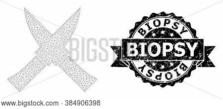 Biopsy Textured Stamp And Vector Crossing Knives Mesh Structure. Black Stamp Seal Includes Biopsy Ti