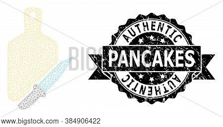 Authentic Pancakes Scratched Seal Imitation And Vector Cutting Board And Knife Mesh Structure. Black