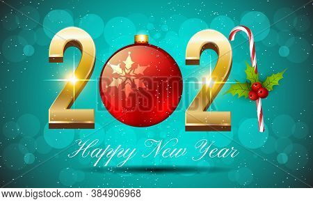 Happy New Year 2021 Vector Illustration With Golden Numbers - Happy New Year 2021 Holiday Poster Bac