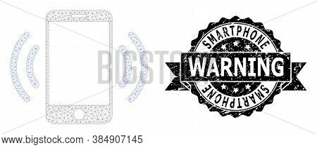 Smartphone Warning Unclean Stamp Seal And Vector Cellphone Vibration Mesh Model. Black Seal Includes