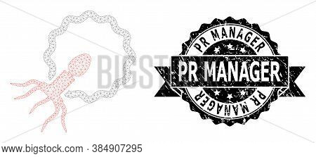 Pr Manager Grunge Stamp Seal And Vector Virus Penetrating Cell Mesh Model. Black Stamp Seal Has Pr M