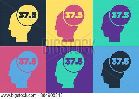 Pop Art High Human Body Temperature Or Get Fever Icon Isolated On Color Background. Disease, Cold, F