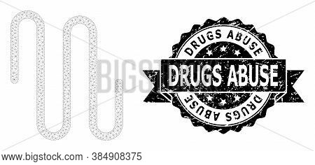 Drugs Abuse Scratched Stamp Seal And Vector Pipe Mesh Model. Black Seal Includes Drugs Abuse Caption