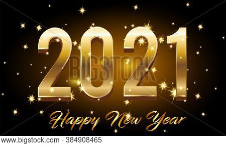 Golden Happy New Year 2021 With Burst Glitter On Black Color Background Vector Illustration