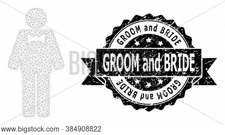 Groom And Bride Textured Stamp Seal And Vector Groom Mesh Model. Black Stamp Seal Includes Groom And