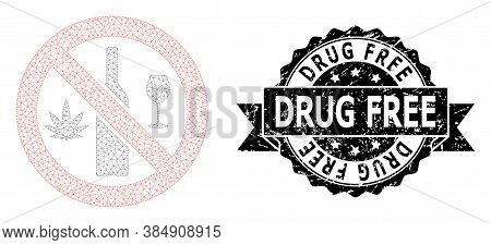 Drug Free Grunge Seal Print And Vector Forbidden Wine Drugs Mesh Structure. Black Stamp Seal Contain