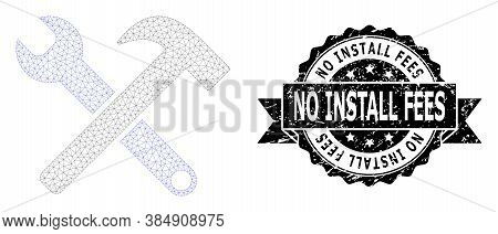 No Install Fees Textured Seal Print And Vector Service Tools Mesh Structure. Black Stamp Seal Has No