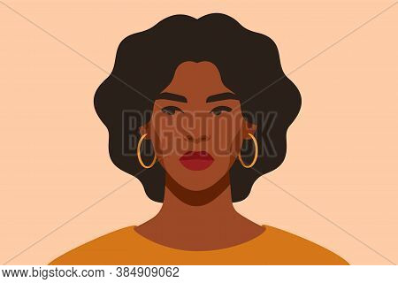 Serious Black Girl Is Looking Away In Protest. Self-confident Young Woman With Brown Skin And Curly