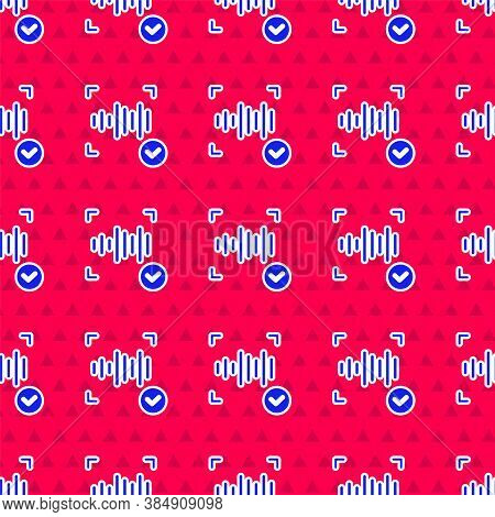 Blue Voice Recognition Icon Isolated Seamless Pattern On Red Background. Voice Biometric Access Auth