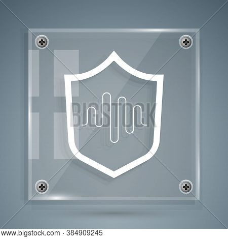 White Shield Voice Recognition Icon Isolated On Grey Background. Voice Biometric Access Authenticati
