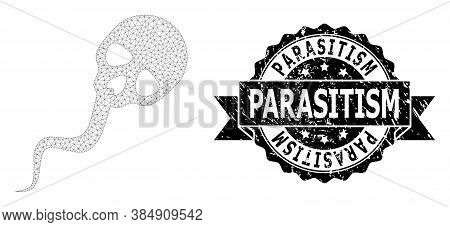 Parasitism Dirty Seal And Vector Dead Sperm Mesh Structure. Black Stamp Seal Contains Parasitism Cap