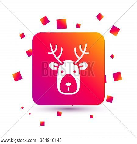 White Deer Head With Antlers Icon Isolated On White Background. Square Color Button. Vector