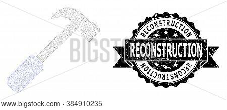 Reconstruction Unclean Stamp And Vector Hammer Mesh Structure. Black Stamp Has Reconstruction Title