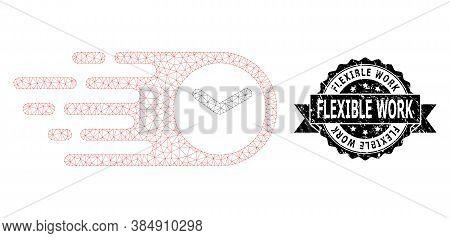 Flexible Work Rubber Seal And Vector Speed Time Mesh Structure. Black Stamp Seal Has Flexible Work T
