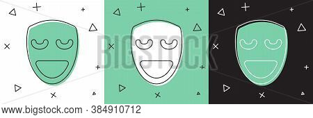 Set Comedy Theatrical Mask Icon Isolated On White And Green, Black Background. Vector