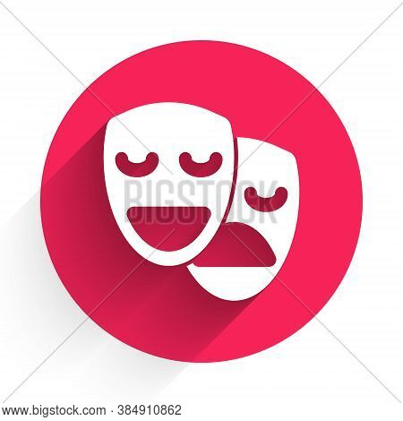 White Comedy And Tragedy Theatrical Masks Icon Isolated With Long Shadow. Red Circle Button. Vector