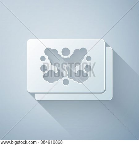 Paper Cut Rorschach Test Icon Isolated On Grey Background. Psycho Diagnostic Inkblot Test Rorschach.