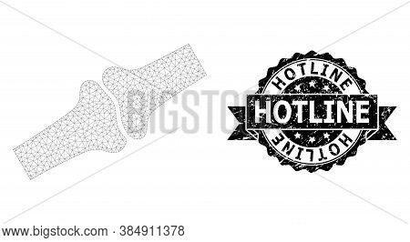 Hotline Textured Seal Print And Vector Bone Joint Mesh Structure. Black Stamp Includes Hotline Title