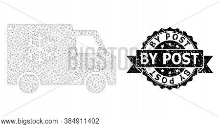 By Post Rubber Seal Imitation And Vector Refrigerator Car Mesh Model. Black Stamp Contains By Post T