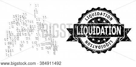 Liquidation Scratched Stamp Seal And Vector Sand Swarm Mesh Structure. Black Stamp Seal Contains Liq