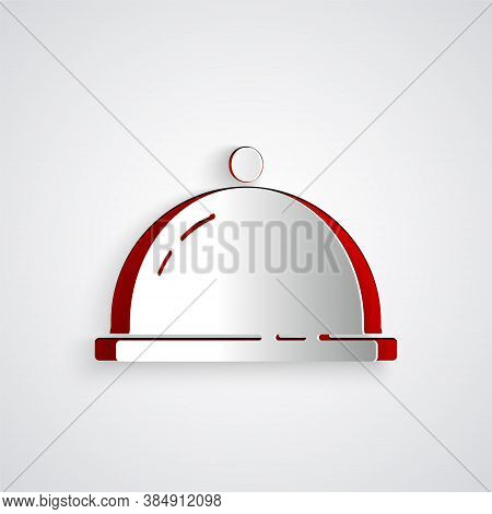 Paper Cut Covered With A Tray Of Food Icon Isolated On Grey Background. Tray And Lid Sign. Restauran