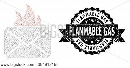 Flammable Gas Dirty Seal And Vector Hot Mail Mesh Structure. Black Seal Contains Flammable Gas Tag I