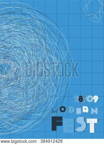 Music Cover In Indigo, Blue, White Colors. Rock Concert Flyer. Minimal Line Brochure. Amplitude Layo