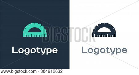 Logotype Protractor Grid For Measuring Degrees Icon Isolated On White Background. Tilt Angle Meter.