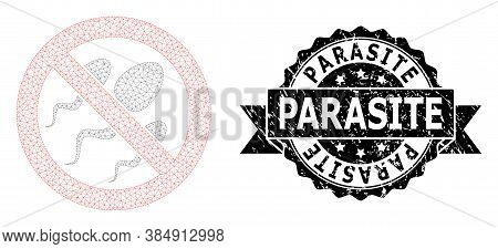 Parasite Corroded Stamp And Vector Forbidden Sperm Mesh Model. Black Stamp Seal Includes Parasite Ti