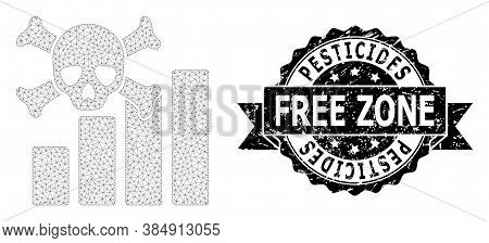 Pesticides Free Zone Grunge Stamp Seal And Vector Death Chart Mesh Structure. Black Stamp Has Pestic