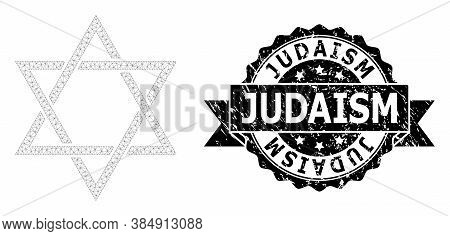 Judaism Corroded Stamp And Vector David Star Mesh Model. Black Seal Includes Judaism Tag Inside Ribb