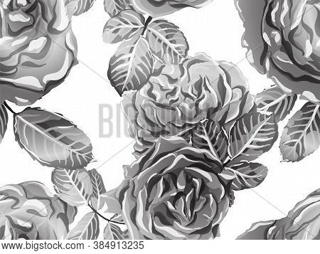 Rose Seamless Pattern. Monochrome, Black And White Continuous Floral Design.summer Peonies Leaves An