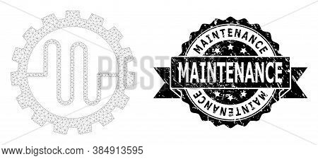 Maintenance Corroded Stamp Seal And Vector Pipe Service Cog Mesh Structure. Black Seal Contains Main