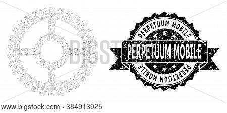Perpetuum Mobile Dirty Stamp Seal And Vector Clock Cog Mesh Structure. Black Seal Has Perpetuum Mobi