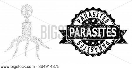 Parasites Unclean Seal Print And Vector Death Virus Mesh Structure. Black Seal Includes Parasites Ca