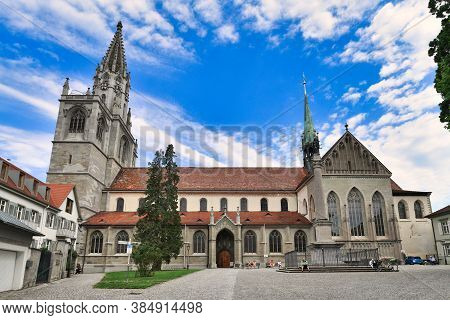 Konstanz, Germany - July 2020: Full Side View Of Constance Minster Or Cathedral In Historic City Cen