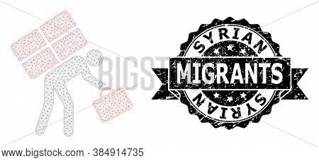Syrian Migrants Unclean Stamp Seal And Vector Refugee Person Mesh Structure. Black Stamp Seal Has Sy