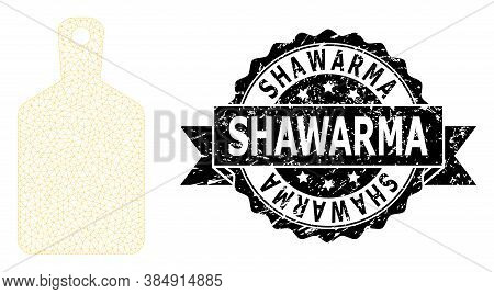 Shawarma Corroded Stamp Seal And Vector Cutting Board Mesh Model. Black Stamp Seal Includes Shawarma