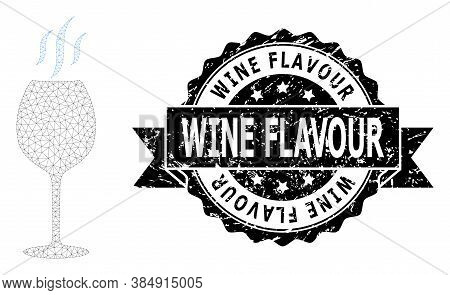 Wine Flavour Scratched Seal Imitation And Vector Wine Flavour Mesh Structure. Black Seal Includes Wi