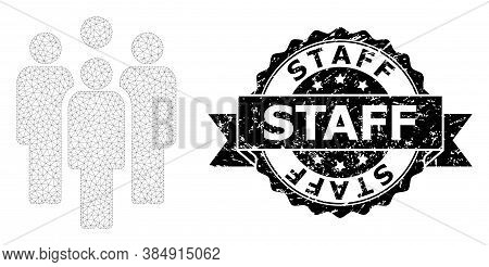 Staff Scratched Seal And Vector Staff Mesh Model. Black Seal Includes Staff Title Inside Ribbon And