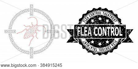 Flea Control Treatment Corroded Seal Imitation And Vector Target Cockroach Mesh Model. Black Seal In