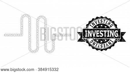 Investing Dirty Seal Imitation And Vector Pipeline Mesh Model. Black Stamp Seal Includes Investing C