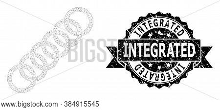 Integrated Rubber Stamp And Vector Circle Chain Mesh Structure. Black Stamp Contains Integrated Text