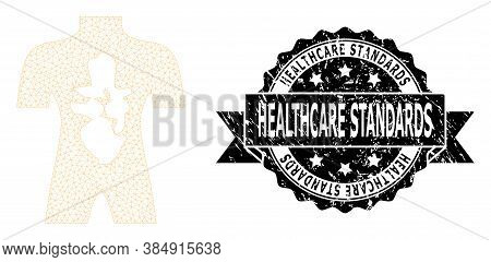 Healthcare Standards Rubber Seal Imitation And Vector Human Anatomy Mesh Model. Black Stamp Seal Inc