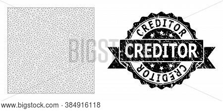 Creditor Corroded Stamp Seal And Vector Square Shape Mesh Structure. Black Stamp Seal Includes Credi