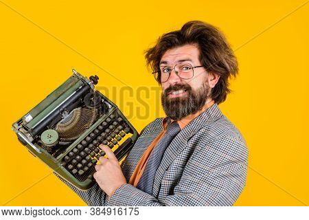 Typewriter. Bearded Teacher Holds Typewriter. Antiques, Old, Journalist, Secretary, Lawyer, Seo, Man
