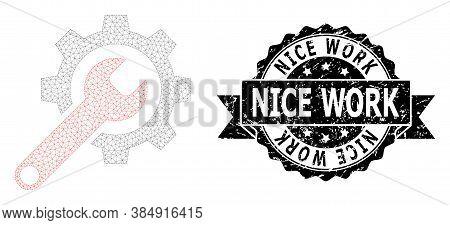 Nice Work Unclean Seal Imitation And Vector Repair Tools Mesh Model. Black Stamp Seal Contains Nice