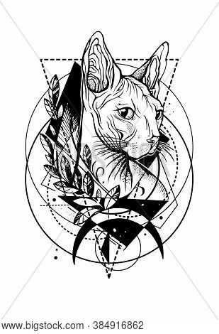 Black Vector Line Art Isolated Outlined Sketched Silhouette Drawing Illustration Of A Sphinx Cat Wit