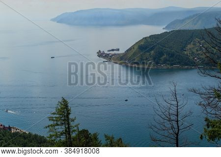 Top View Of Green Mountains Near Bay Of Blue Lake Baikal The Mouth Of Angara River From Chersky Ston